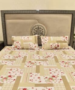 3 PCs Cotton Printed Bed Sheet